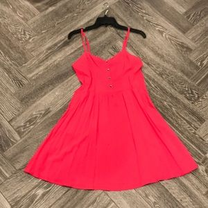 Coral Pink Spahgetti Strap Mini Dress w Pockets M